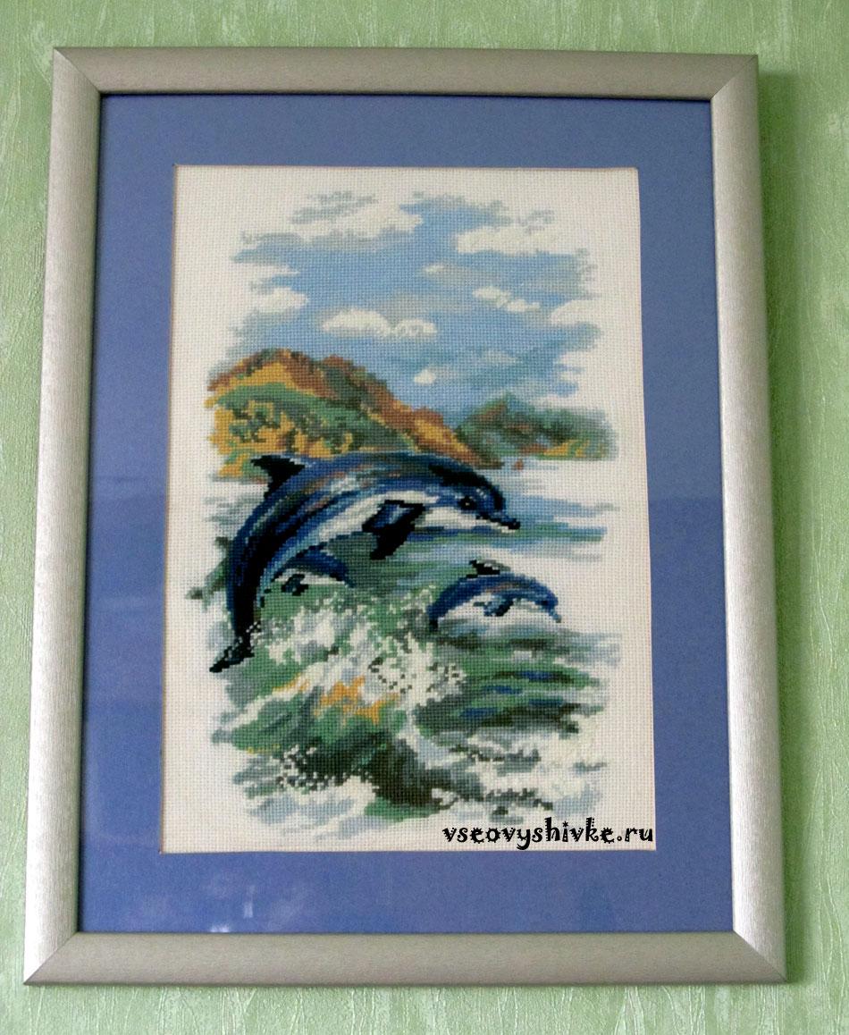 Вышивка крестом: Дельфины схема 22