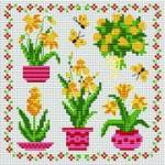 маленькие цветы схемы вышивки крестом