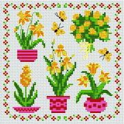 Вышивка крестом схемы цветы лёгкие