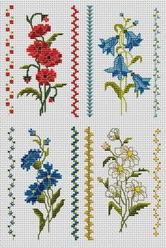 Схема вышивки цветочек крестиком
