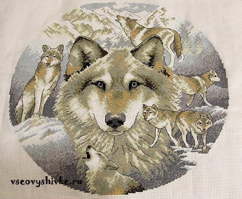 вышивка волки