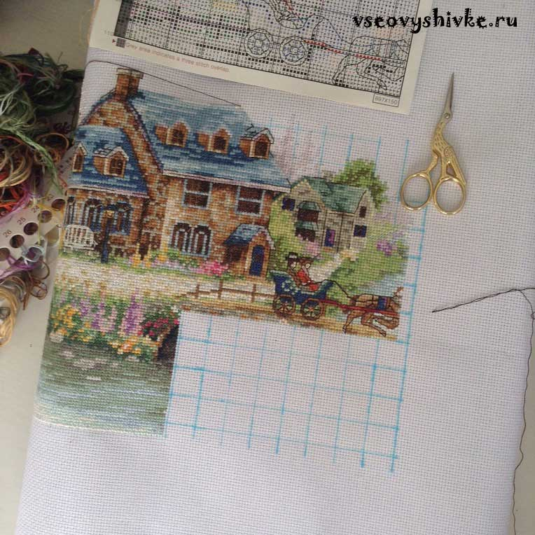 Схема для вышивки зеленая деревенька 46